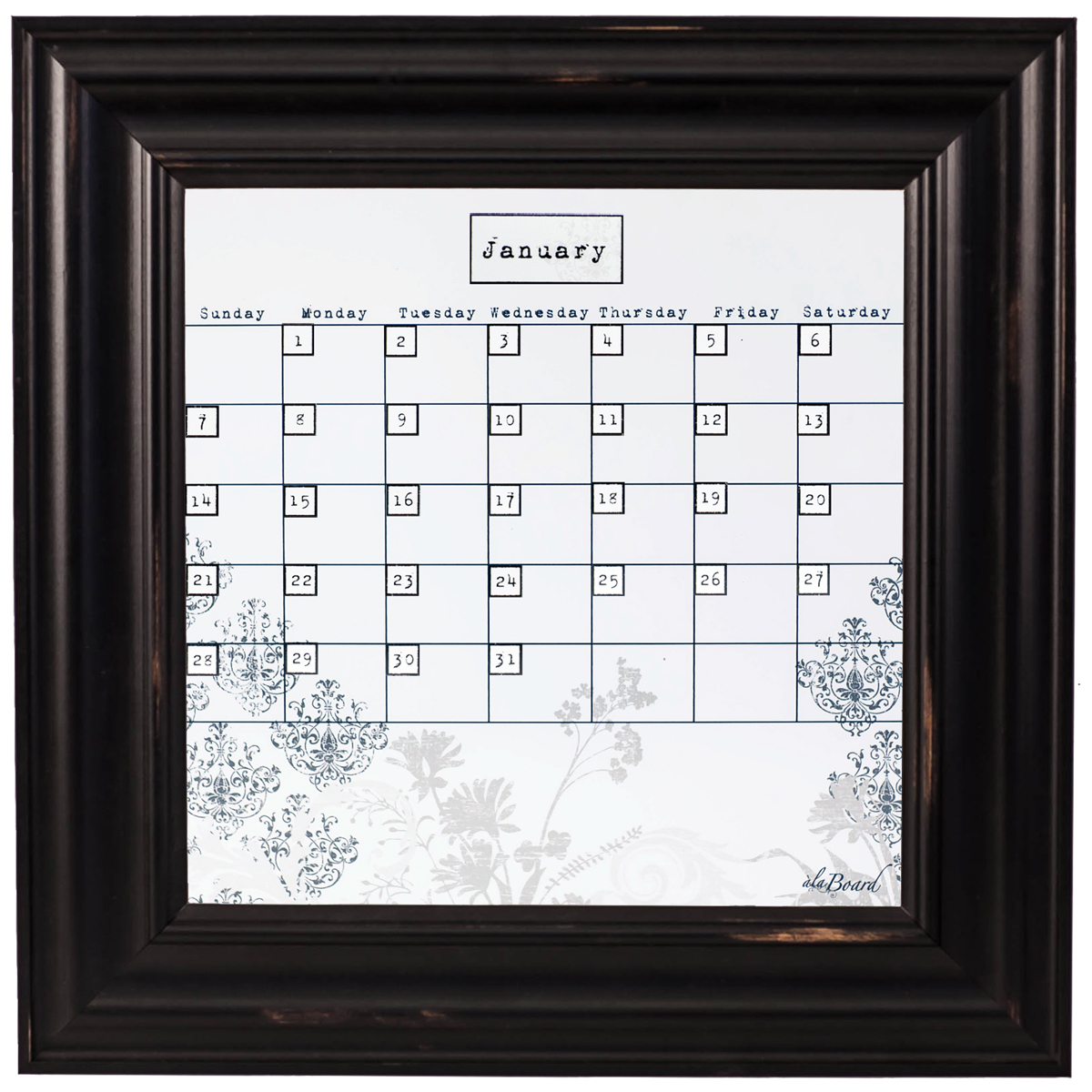 Small Floral Calendar Board Framed Black Wood