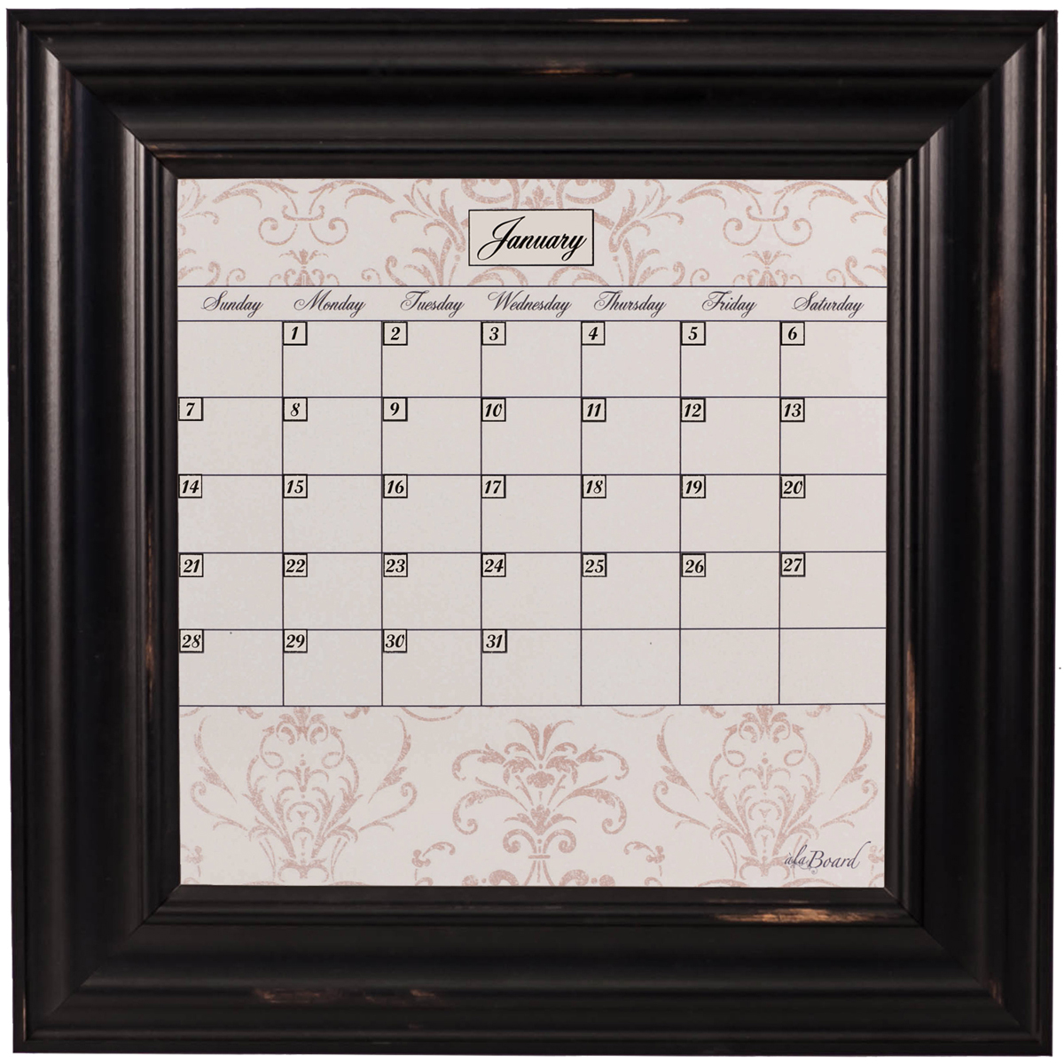 Small Contrast Calendar Board Framed Wood Black