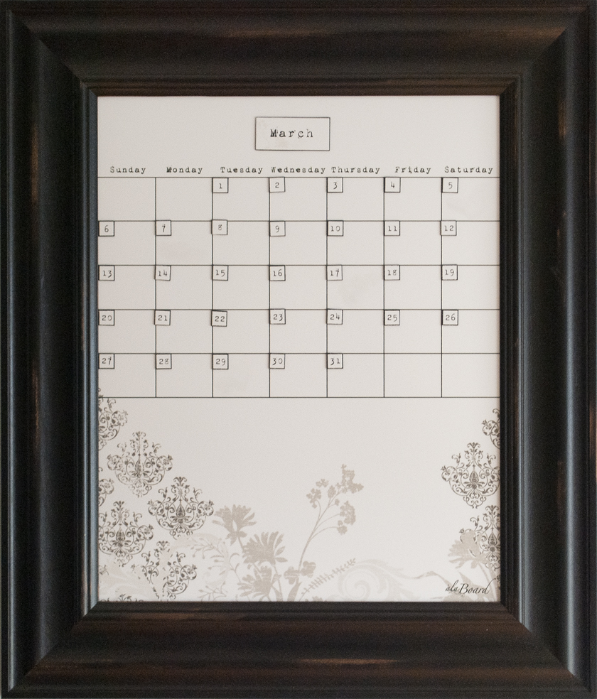 Medium Floral Calendar Board Framed Black Wood