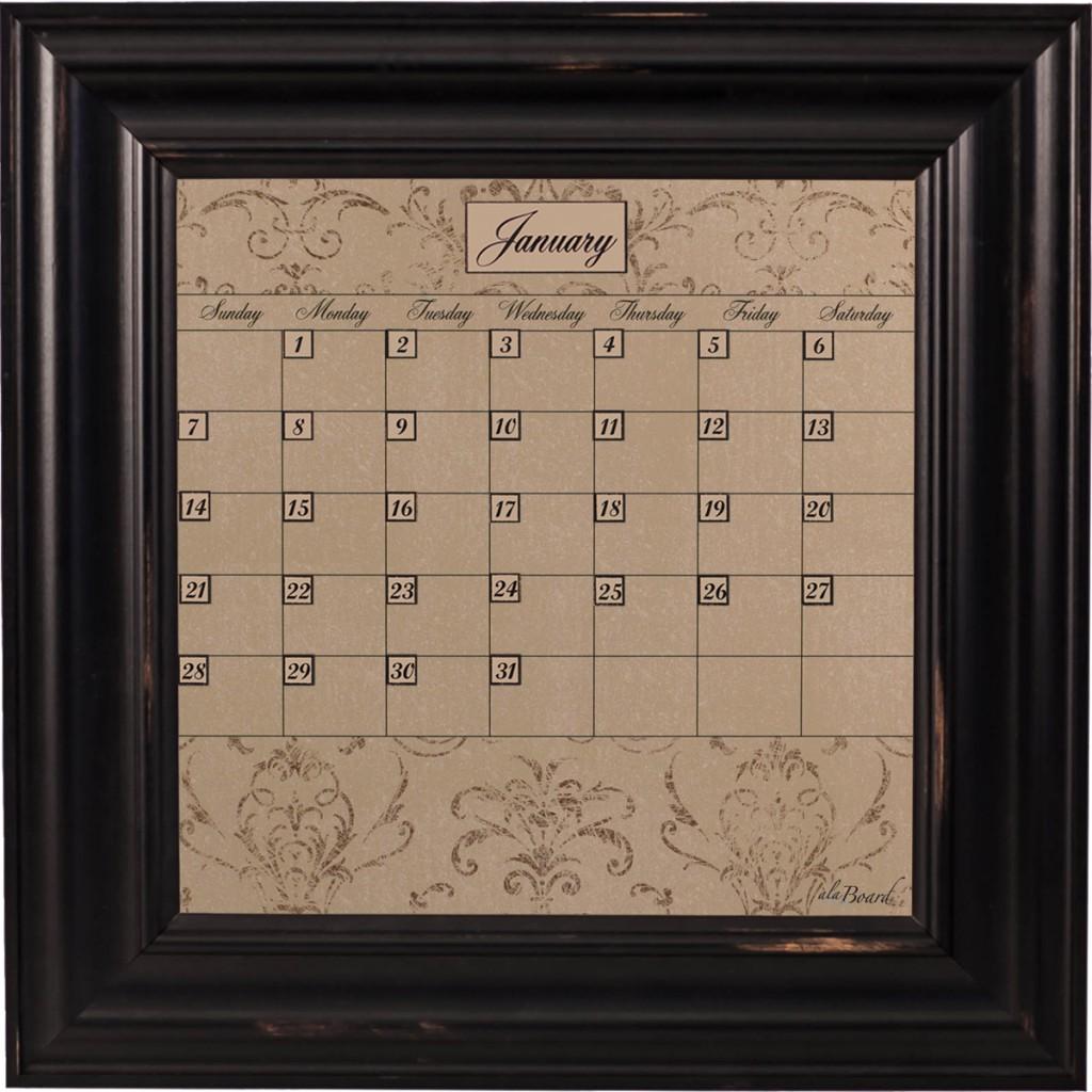 Small Mocha Calendar Board Framed Wood Black