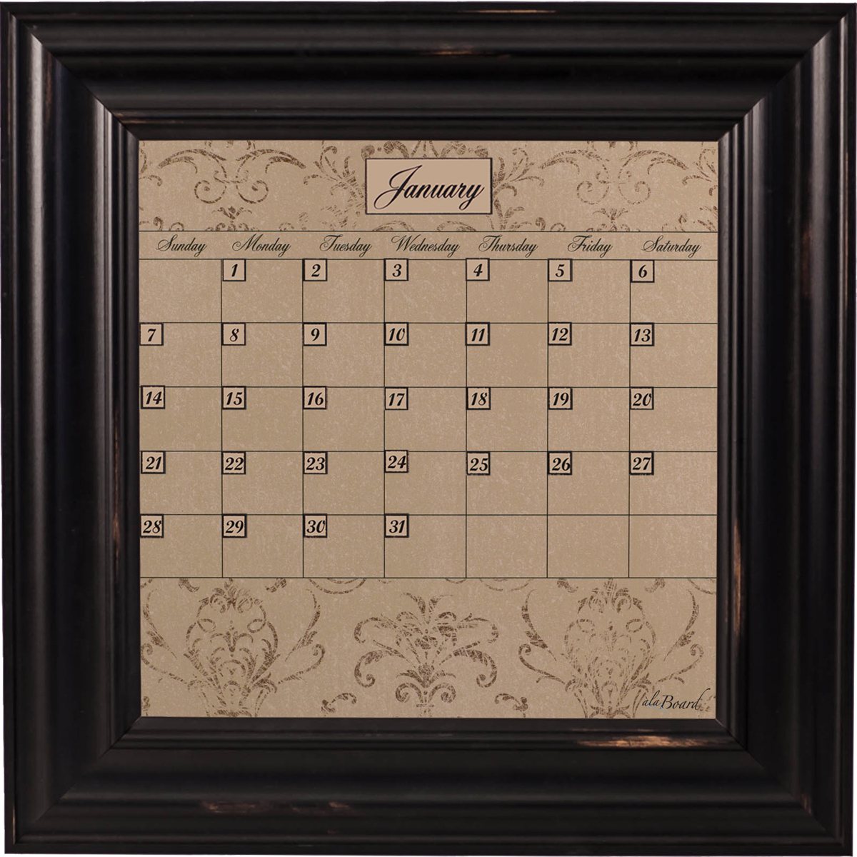 Small Mocha Calendar Board Framed Wood Black