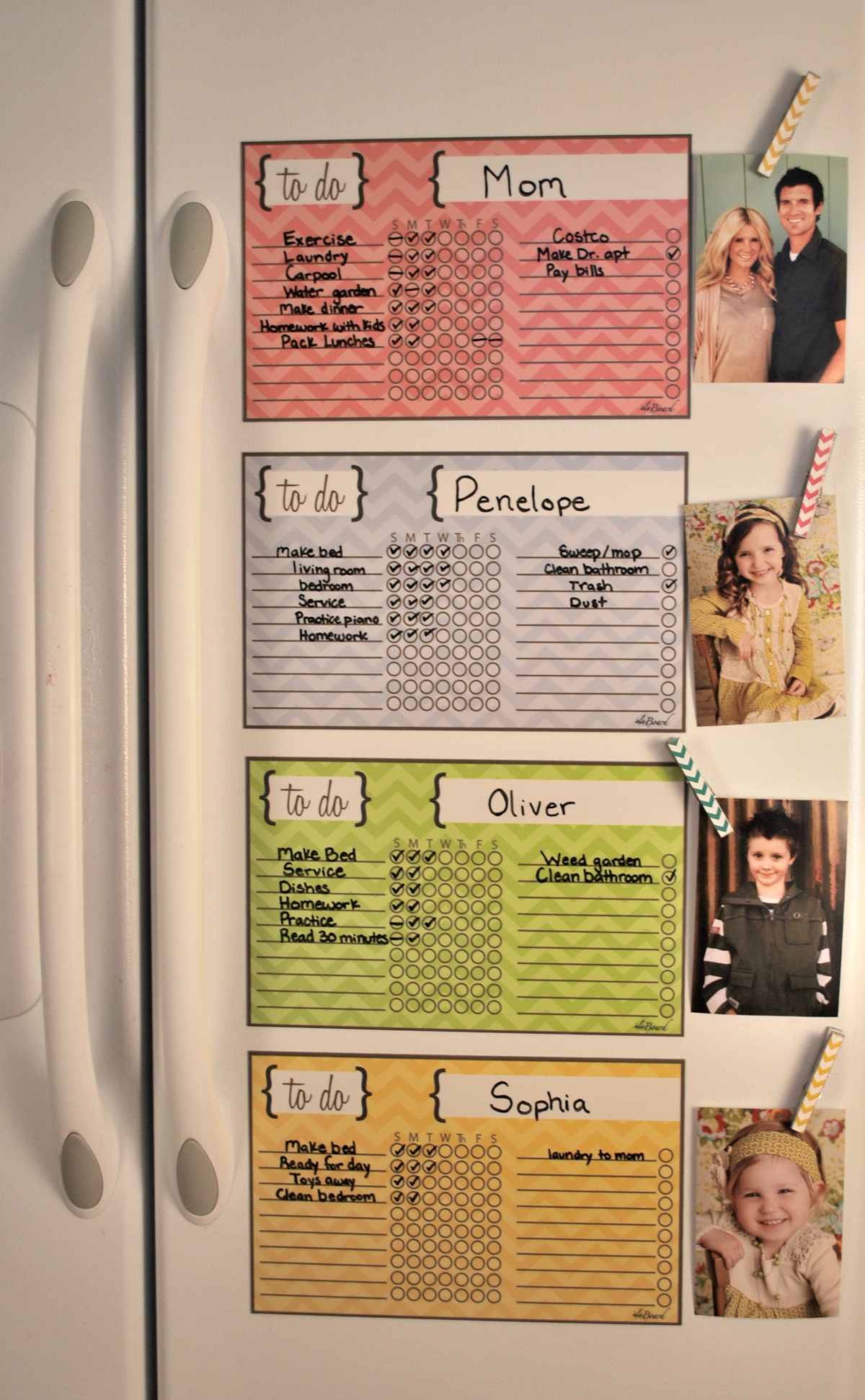 yellow chevron stripe chore chart magnet