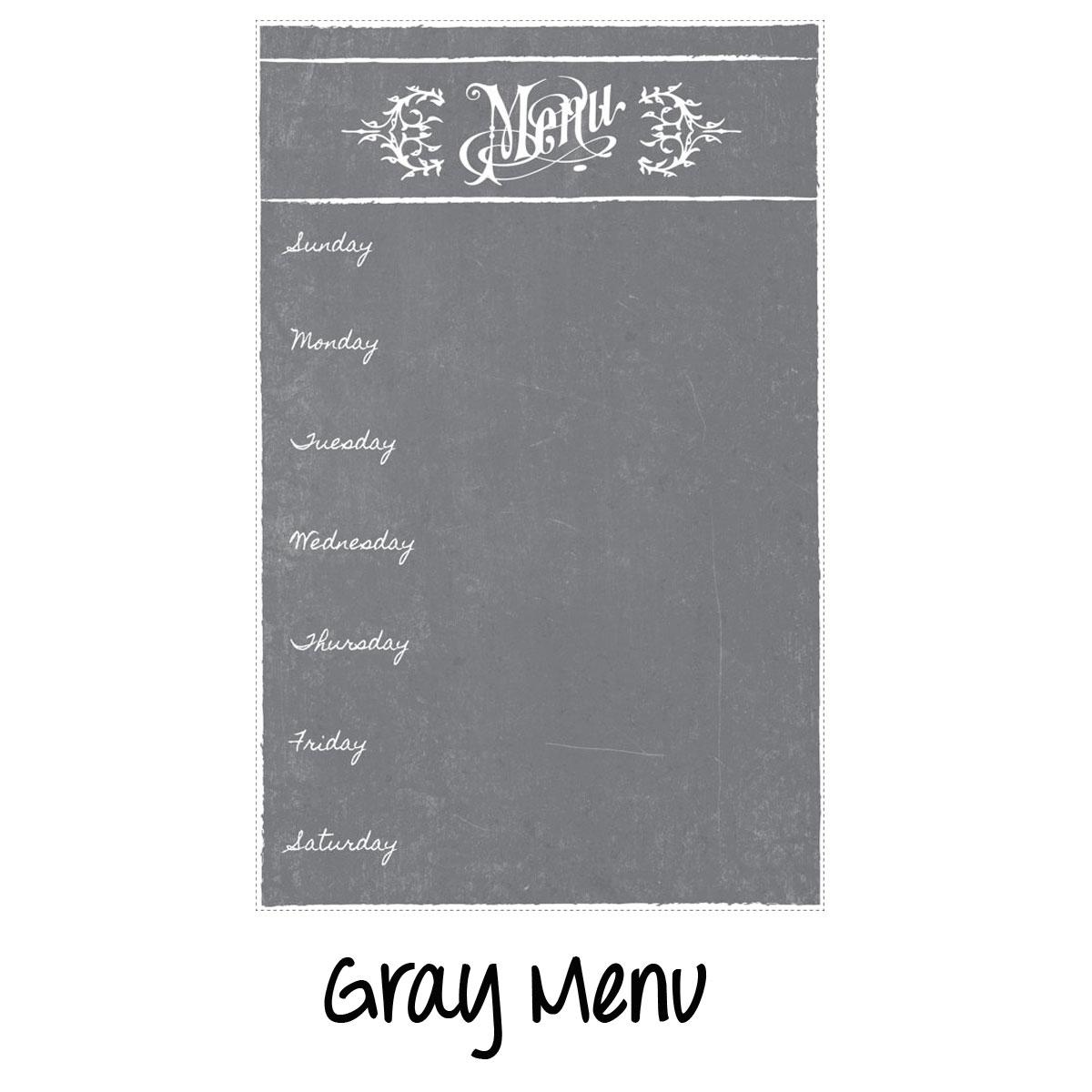 Dry Erase Menu Magnet Gray