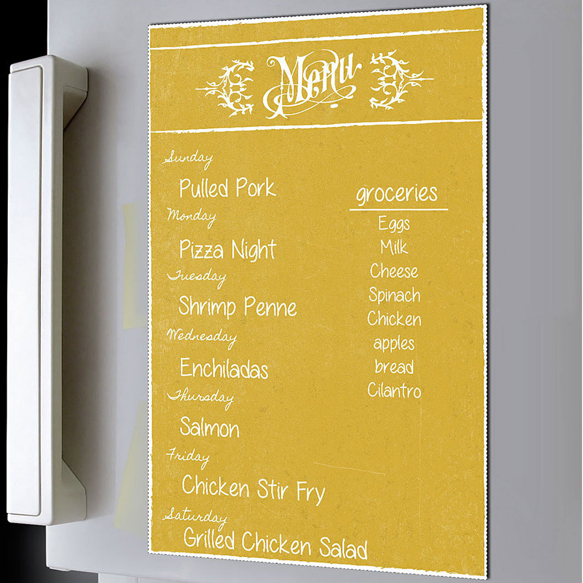 Dry Erase Menu Magnet Yellow