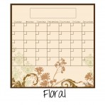 Monthly Fridge Calendar Decal Floral