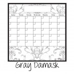 Dry Erase Calendar Fridge Monthly Calendar Magnet Gray Damask