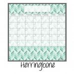 Dry Erase Calendar Fridge Monthly Calendar Magnet  Teal Herringbone