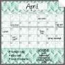 Monthly Fridge Calendar Decal Teal Herringbone