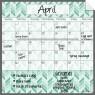 Monthly Fridge Calendar Decal Teal Herringbone