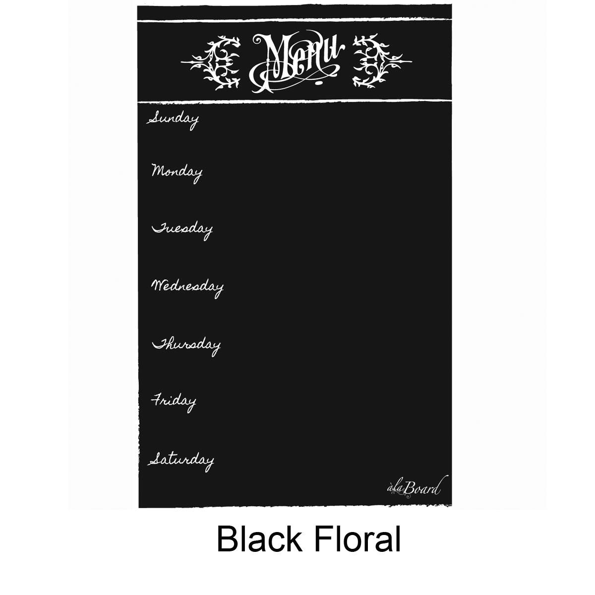 Dry Erase Menu Magnet Black Floral