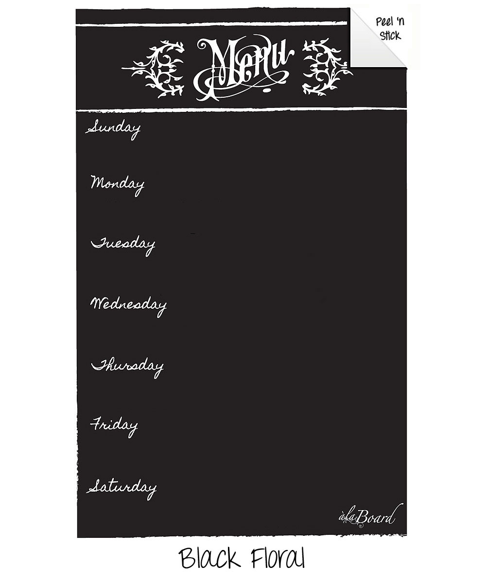 Dry Erase Menu Decal Black Floral