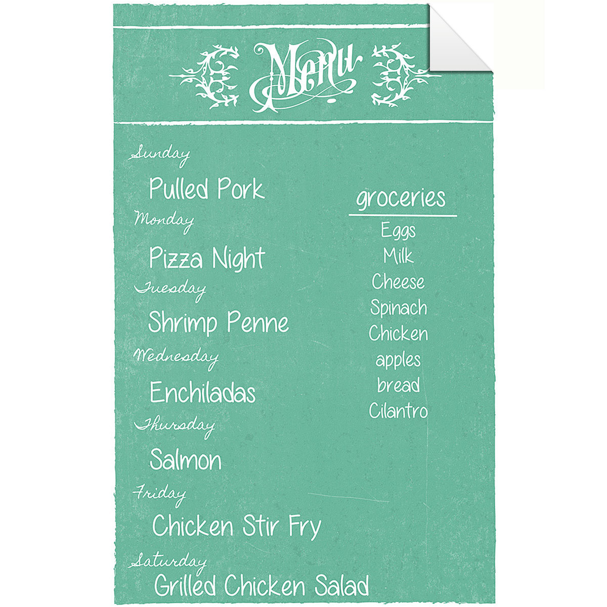 Dry Erase Menu Decal Teal