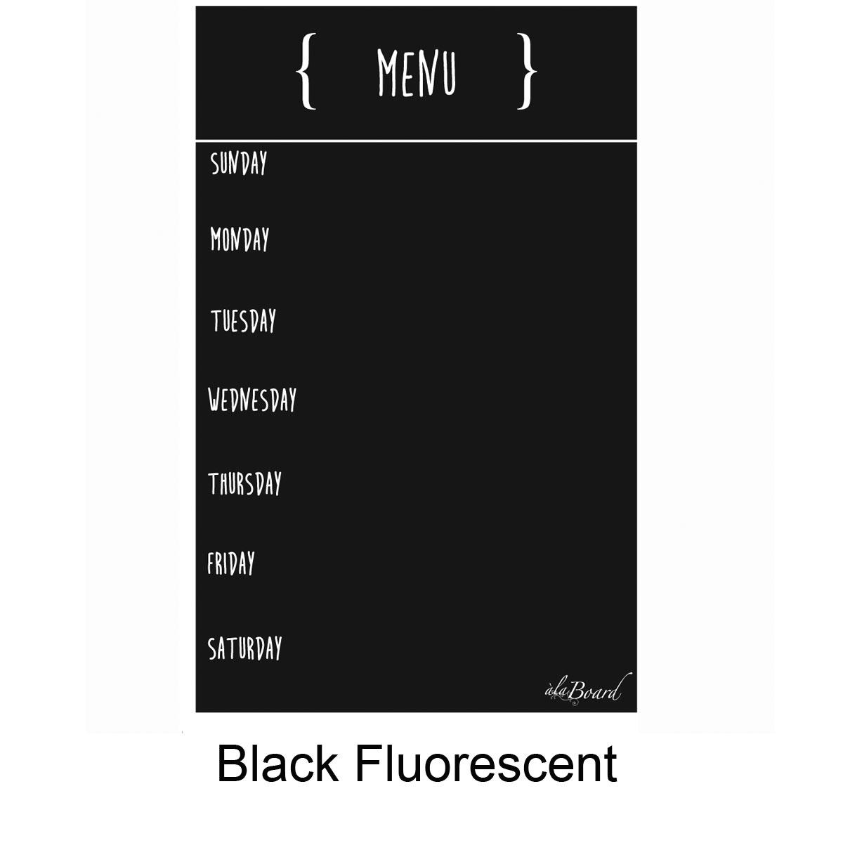 Dry Erase Menu Magnet Black Fluorescent