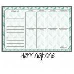 Weekly Calendar Magnet Teal Herringbone