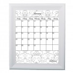 Large Gray Calendar Framed White