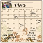 Monthly/Weekly Calendar Magnet Set: Floral