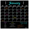 Monthly Calendar Magnet (Black Fluorescent) + Marker 8 Pack