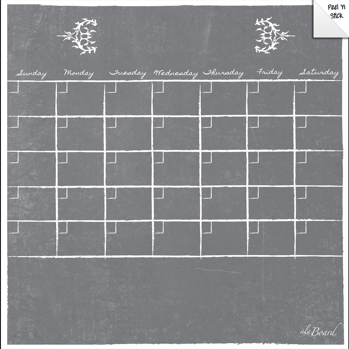 Monthly Calendar Wall Decal Gray Chalkboard Marker 5 Pack