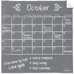 Monthly Calendar Wall Decal (Gray Chalkboard) + Marker 5 Pack