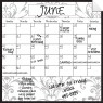 Monthly Calendar Wall Decal (Gray Damask) + Marker 5 Pack
