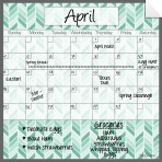 Monthly/Weekly Calendar Wall Decal Set: Teal Herringbone