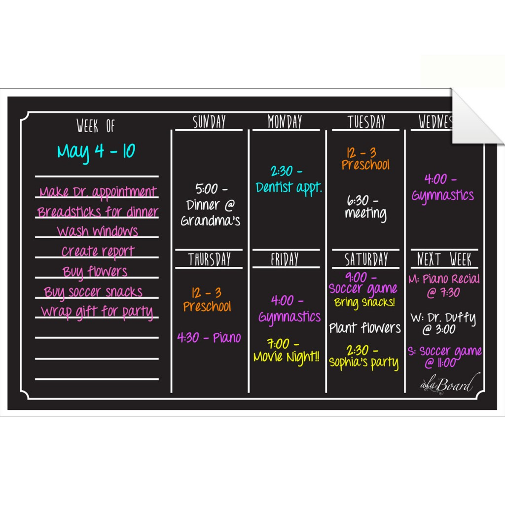 Dry Erase Weekly Calendar : Weekly calendar wall decal marker set black fluorescent