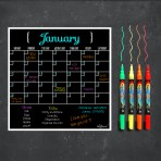 Monthly Calendar Magnet (Black) + Autumn Marker 4 Pack