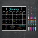 Monthly Calendar Magnet (Black) + Spring Marker 4 Pack