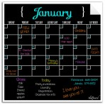 Monthly Calendar Wall Decal (Black) + White Marker 4 Pack