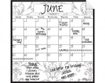 Monthly Calendar Wall Decal (Gray Damask) + Marker 4 Pack