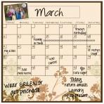 Monthly Calendar Magnet (Floral)+ Marker 4 Pack