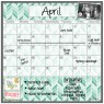 Monthly Calendar Magnet (Teal Herringbone)+ Marker 4 Pack