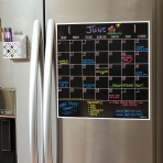 15″ x 15″ Monthly Calendar Magnet: Black Fluorescent